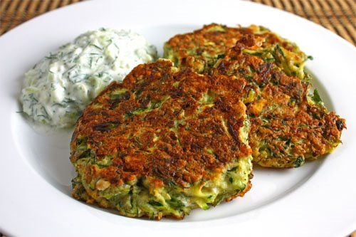 Greek Style Zucchini Fritters with Tzatziki This guy's food blog is ...