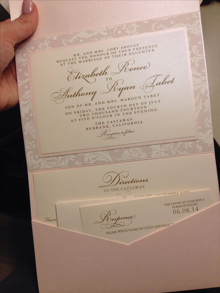 Pocketfold Invitations, Pink and Gold, Wedding Invitation, Floral - wedding invitation design surabaya