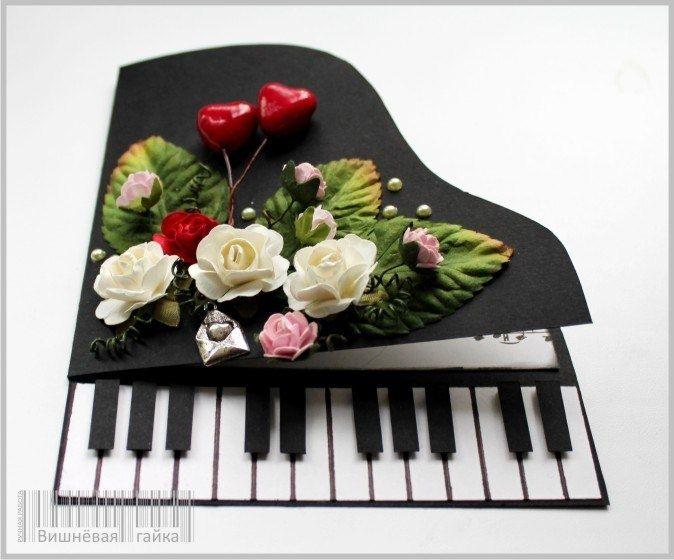 Как сделать открытка в виде рояля