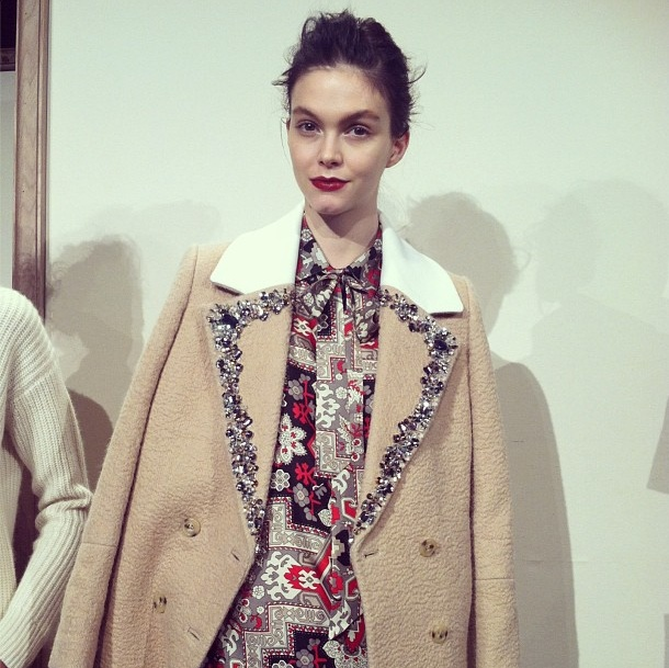 spotting a Fall trend, embellished coats as seen @J.Crew #NYFW
