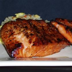 Grilled Salmon I Recipe - brown sugar and soy sauce marinade.
