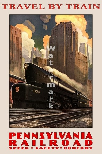 24 x36 premium glossy vintage travel poster travel by for Vintage train posters