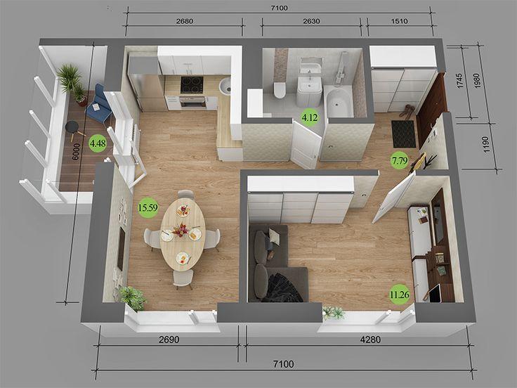 Дизайн однокомнатной квартиры 40 кв.м студия