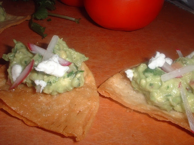 Guacamole with Roasted Chile, Cumin and Feta & Homemade Tortilla Chips