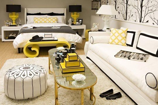 yellow black and white bedroom favorite places spaces pintere