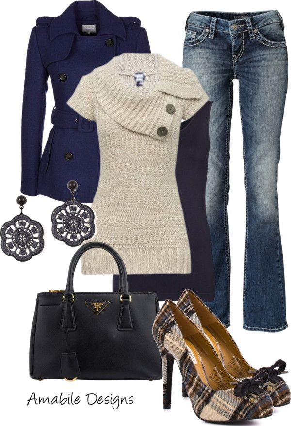 Jeans,navy coat,knitted sweater,plaid pumps and handbag