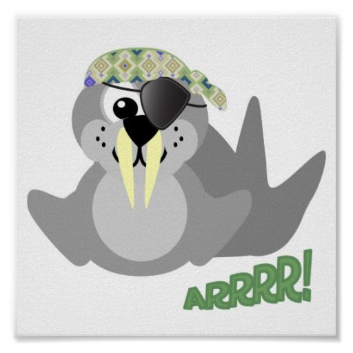Cute Goofkins pirate walrus Posters