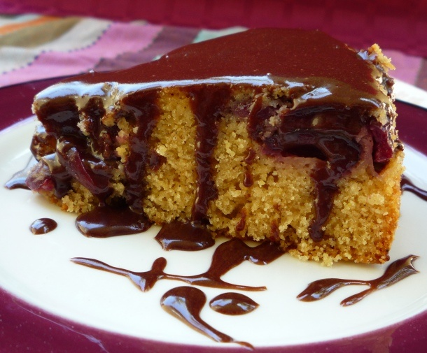 Cherry Cornmeal Cake with Chocolate Glaze