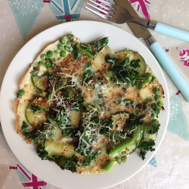 Open Omelette with Kale, Peas, Zucchini | Zucchini | Pinterest