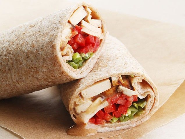 Wrap Star. Veg out with this Thai peanut-flavored tofu-and-veggie wrap ...