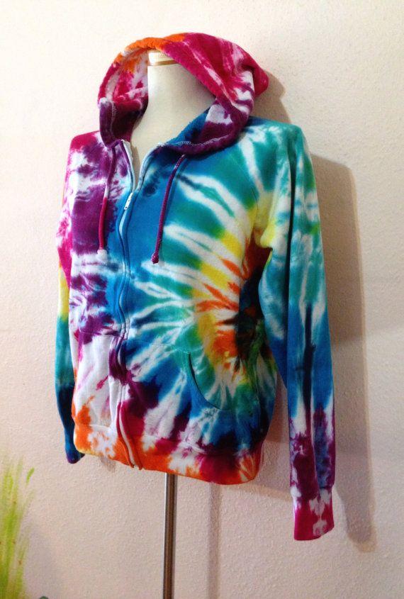 rainbow tie dye hoodie hippie hoodie fleece hoodie. Black Bedroom Furniture Sets. Home Design Ideas