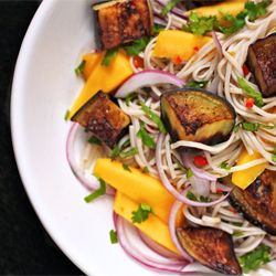 Soba Noodles with Eggplant and Mango. Vegetarian and delicious.