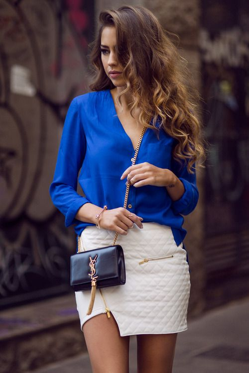 blue shirt white mini skirt i d to wear that