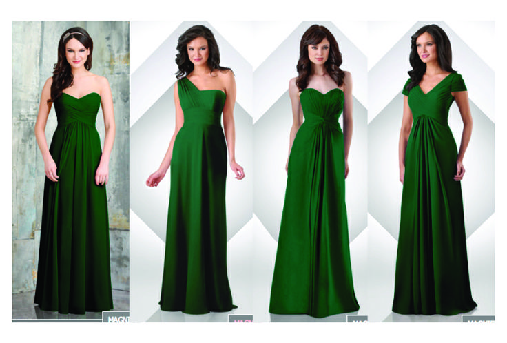 Bari Jay Long Dresses In Hunter Green