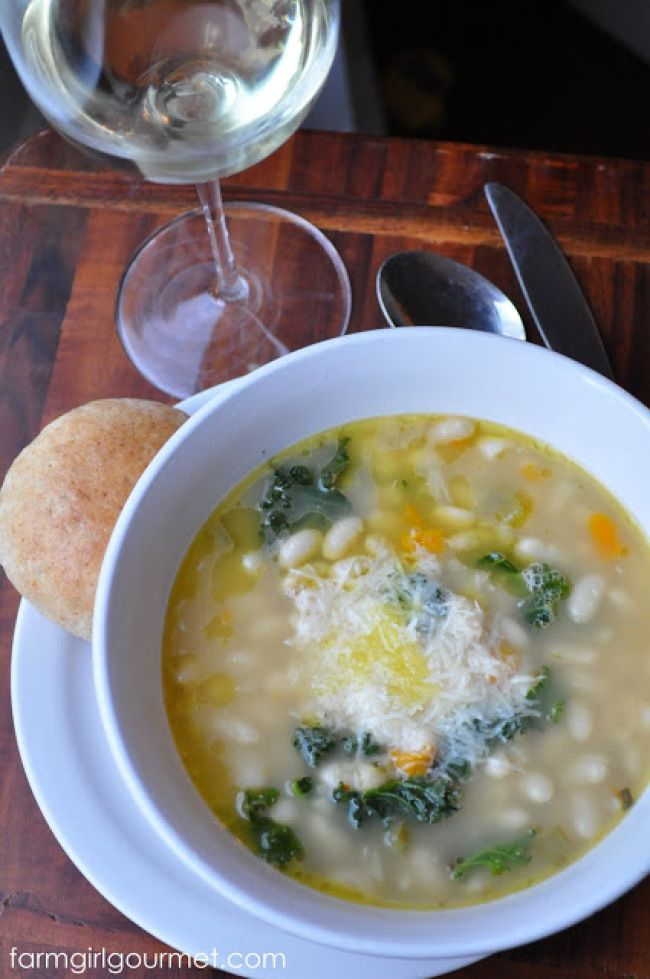 Emeril's Tuscan White Bean Soup. I always add carrot, potato and some ...