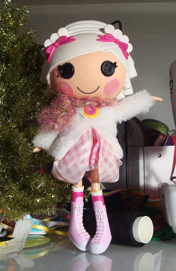Lalaloopsy Coat, White Fuzzy Coat with Crocheted Scarf by PeppermintPiglets, Etsy