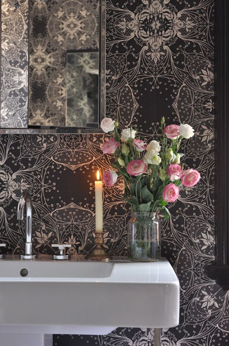 love the new trend of large print wallpaper and teeny tiny powder rooms  abigail ahern