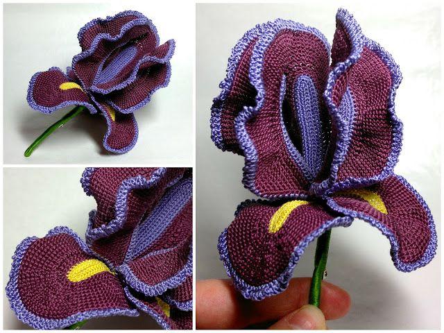 Crochet Iris Flower Pattern : Crochet Iris - Tutorial Crochet, Needlework, & Such ...