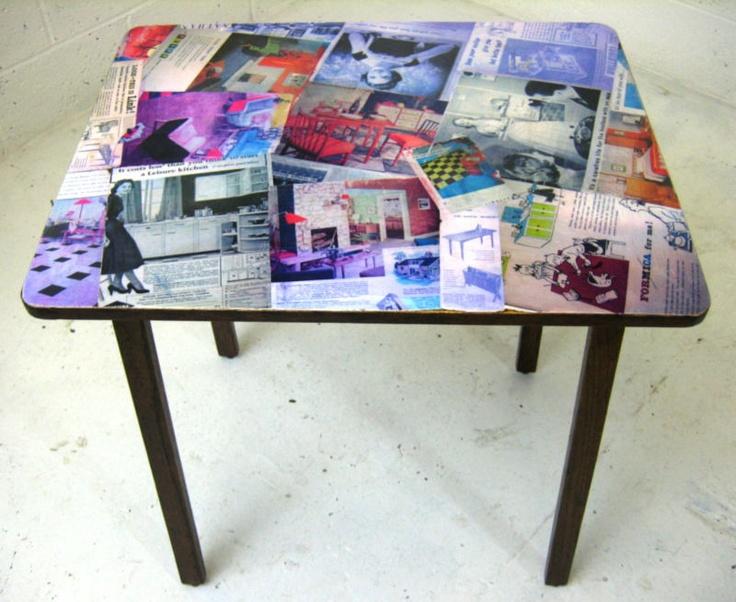 VINTAGE RETRO DECOUPAGE Kitchen Dining Desk Wooden