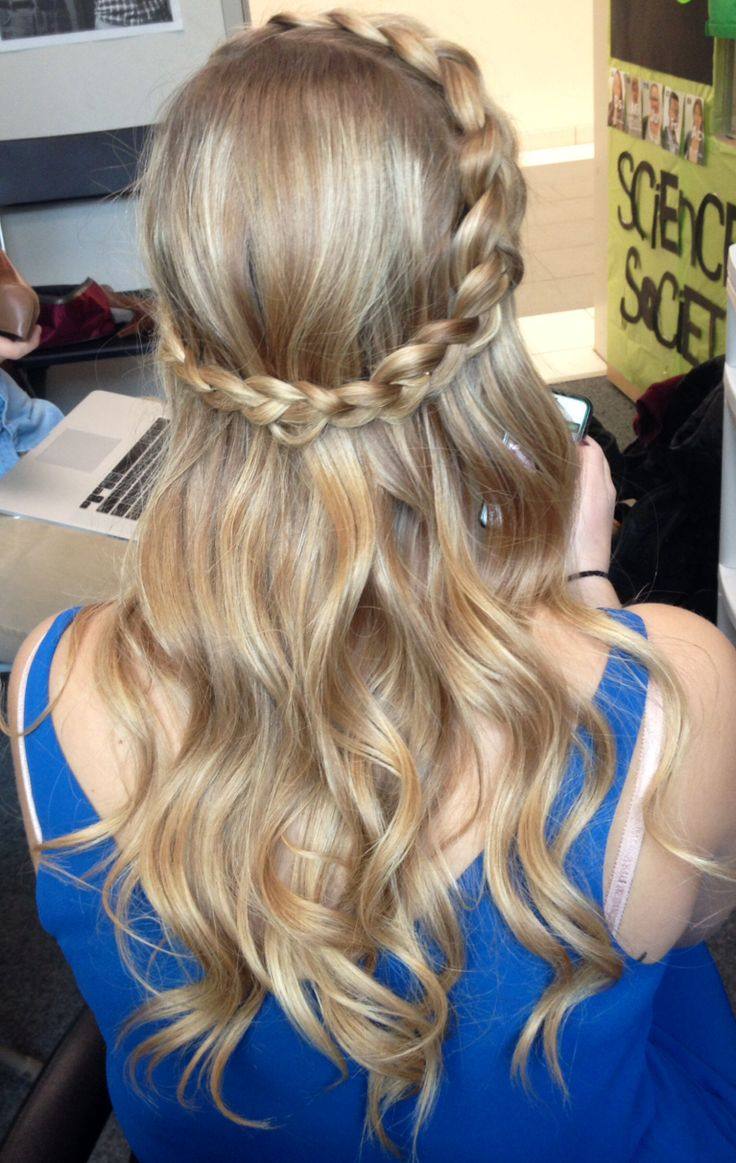 French braid with curls to side pictures