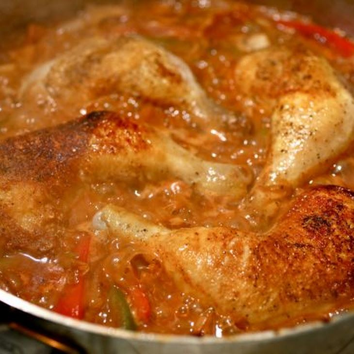 ... Skillet Braised Chicken With Peppers And Paprika Recipe — Dishmaps