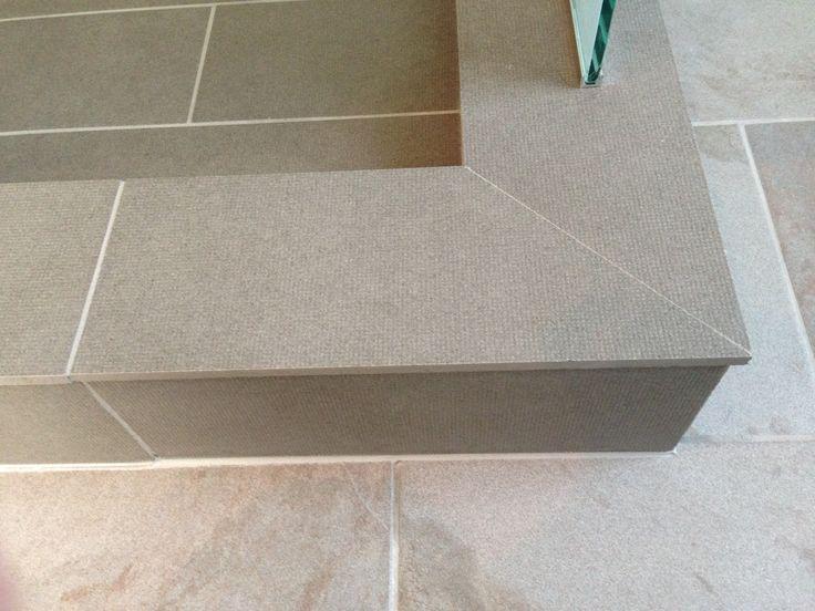 Mitre Of Outside Corner Of Shower Curb Tile Details By