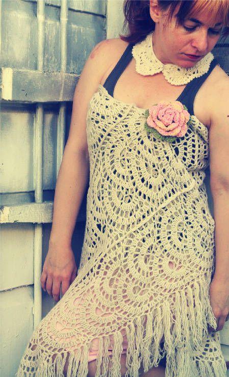 Crochet shawl worn as dress, floral pin, crochet collar. The shawl is cute.