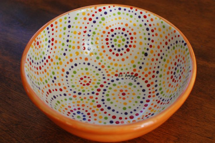 Orange dotty serving bowl be happy for Bowl painting ideas