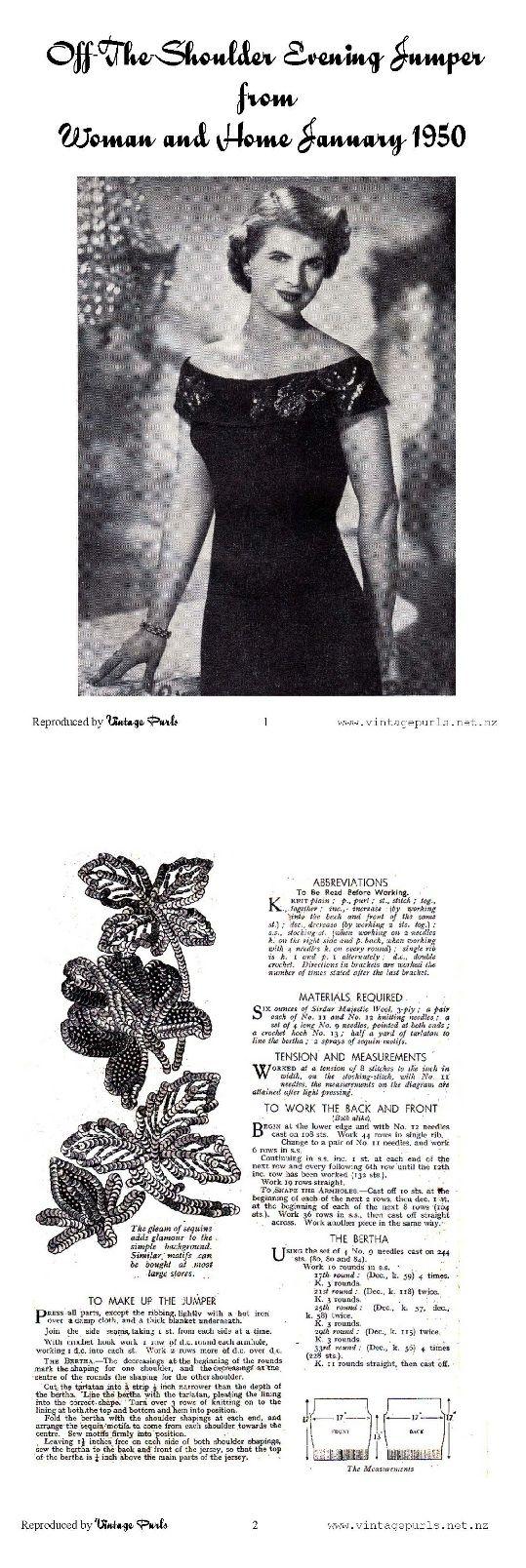 Free vintage 1950s knitting Pattern Craft Pinterest