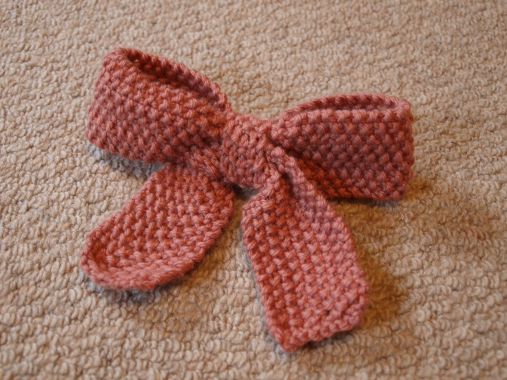 Knit bow pattern knitty knit Pinterest