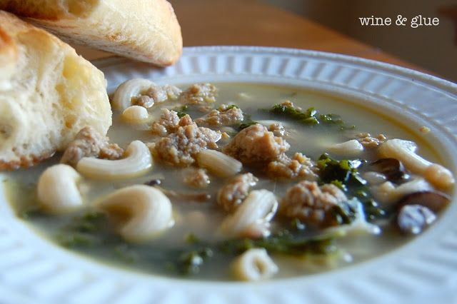 Warm Sausage & Kale Soup. minus the mushrooms and noodles.