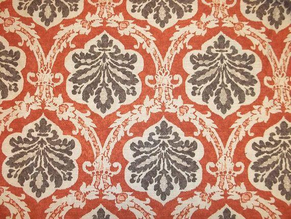 Stunning Burnt Orange And Chocolate Brown Boho Print Home Decor Cotton
