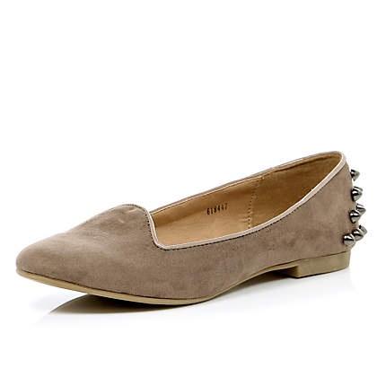 light beige stud slipper shoes - pumps / plimsolls - shoes / boots