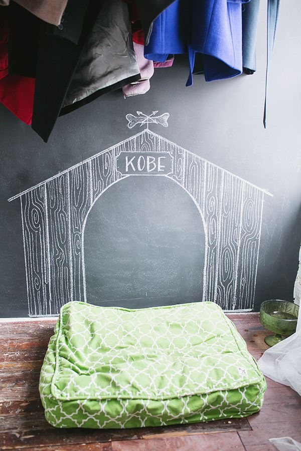 Chalkboard dog house for the pup who doesn't have a yard to call his own!