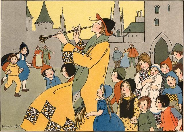 All the Little Boys and Girls in Hamelin Followed the Pied Piper by Margaret Evans Price : Custom Wall Decals, Wall Decal Art, and Wall Decal Murals | WallMonkeys.com