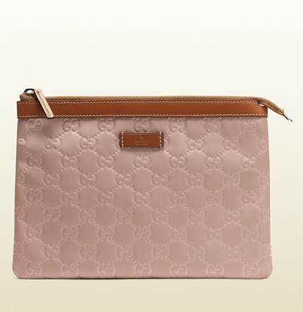 light pink nylon guccissima zip-top pouch 282071 KBT1G 6864 $170 Gucci