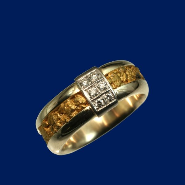 gold nugget ring diamonds lapland gold nuggets