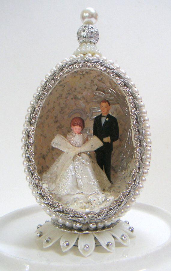 Vintage silver wedding anniversary cake topper th