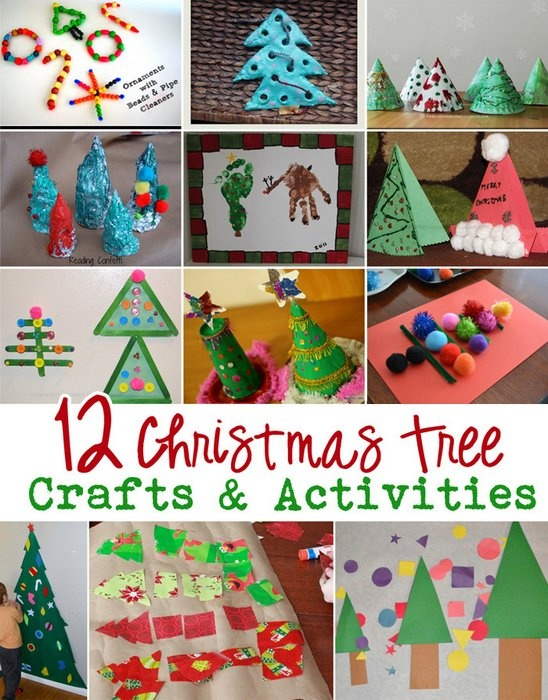 12 Christmas Tree Crafts & Activities - click on picture for crafting details.