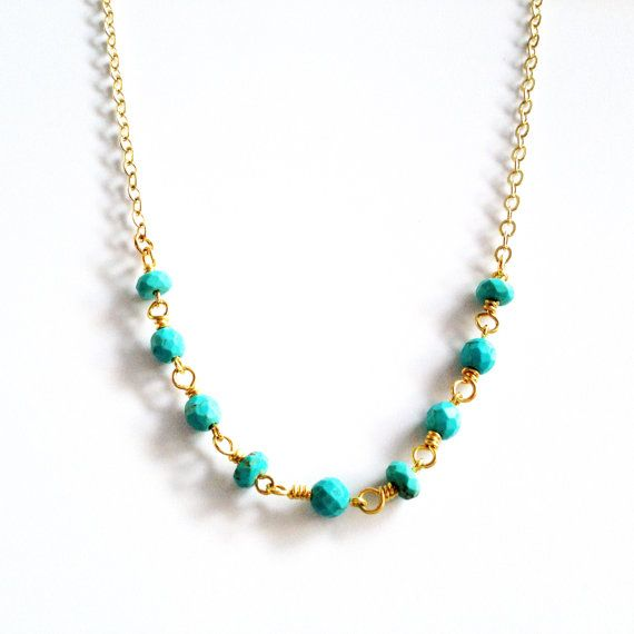 turquoise beaded chain necklace dainty turquoise gold