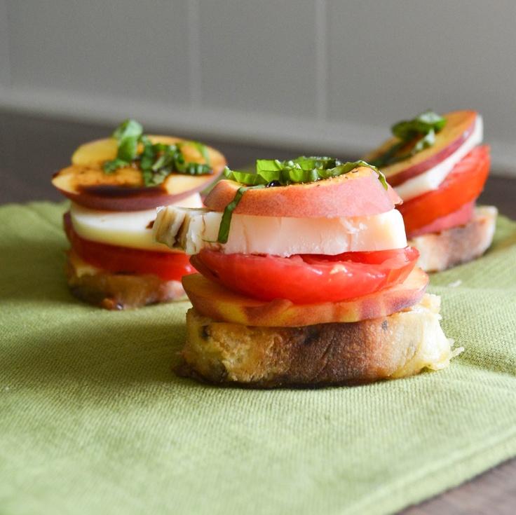 peach tomato and mozzarella crostini | CSA recipes | Pinterest