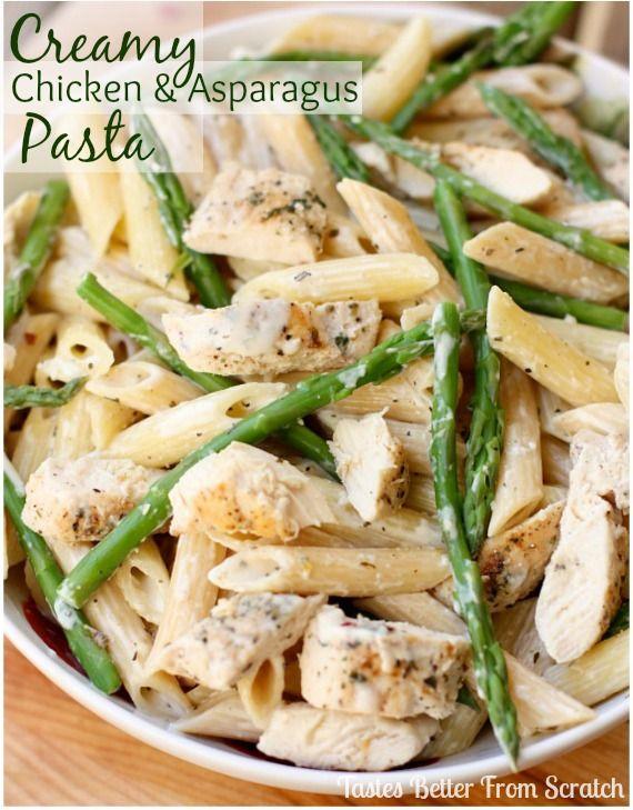 Creamy Chicken and Asparagus Pasta recipe from TastesBetterFromScratch ...