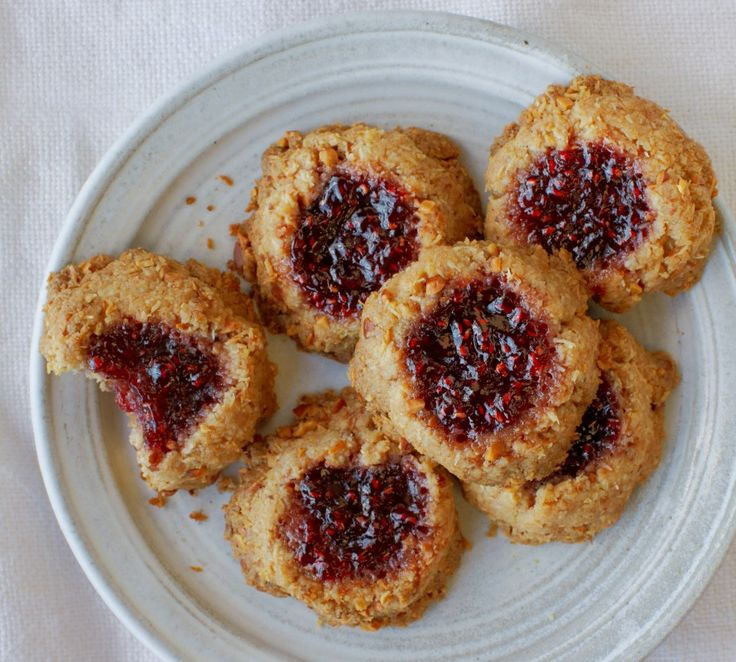 Coconut, Almond, and Raspberry Jam Thumbprint Cookies w/flax, coconut ...