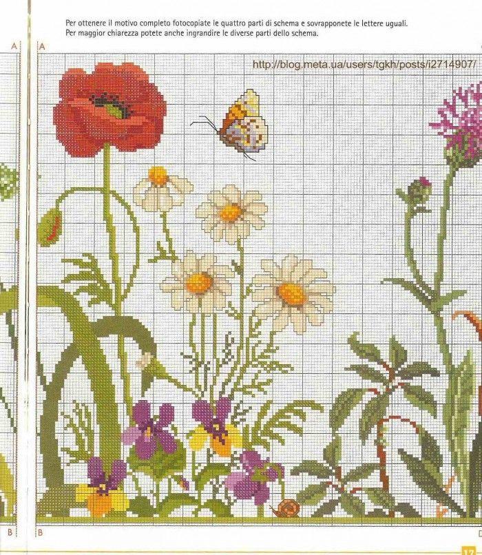 Вышивка крестом схемы луговые цветы