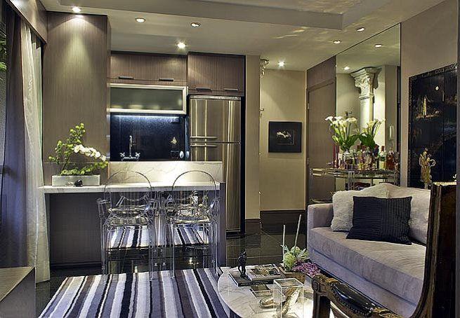 #apartamentopequeno  cozinha e sala integradas