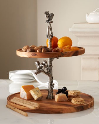 Two-Tier Tray with Squirrel Stem  Wood, cupcake or cheese stand.