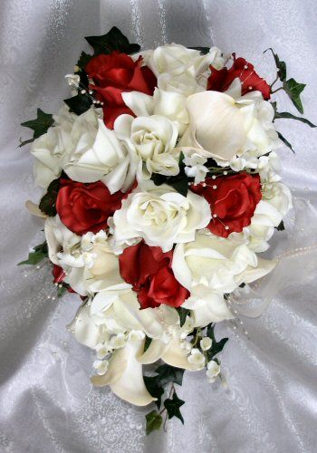 Red And White Wedding Flowers Bridal Bouquets Or Ivory Calla Lily Bridal Cascade Bouquet