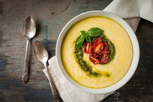 Creamy Polenta with Basil Pesto and Oven-Roasted Tomatoes - The Simple ...