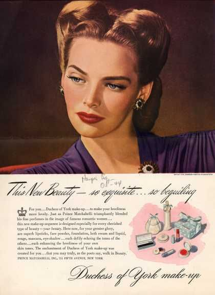 New Beauty So Exquisite So Beguiling. Duchess of York Makeup (1944