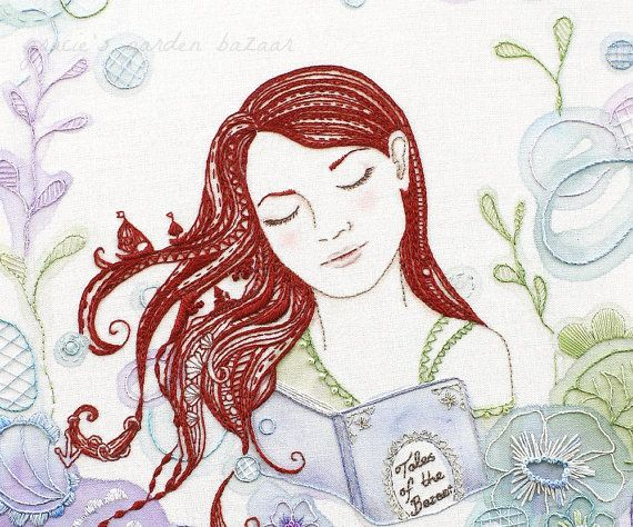 Sleeping+Beauty+II++Giclee+Print+Embroidery+by+graciesgardenbazaar,+£12.50